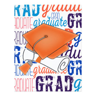 Bright Orange Graduation Cap and Diploma Letterhead