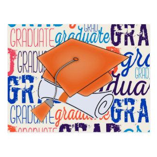Bright Orange Graduation Cap and Diploma Postcard