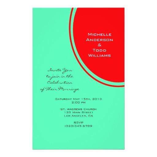 Bright Orange Green Modern Wedding Personalized Flyer