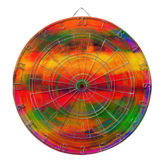 Bright Orange Green Pattern tie-dye Abstract Dartboard