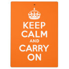 Bright Orange Keep Calm and Carry On Clipboard