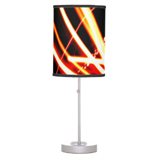 Bright Orange Lines Lampshade Table Lamp