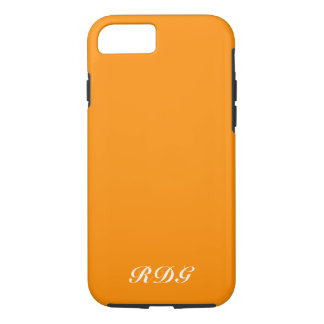Bright Orange Modern Professional White Monogram iPhone 8/7 Case