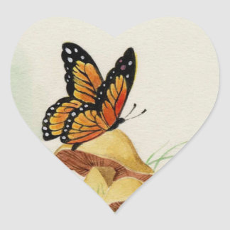 Bright orange monarch butterfly design heart sticker