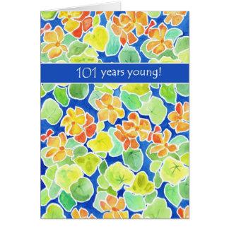 Bright Orange Nasturtiums Floral 101st Birthday Card
