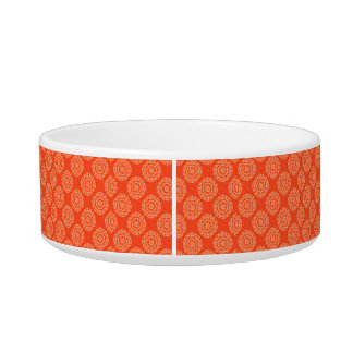 Bright Orange Pattern with Floral Circle Pattern Pet Food Bowl