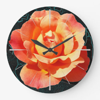 Bright orange rose large clock