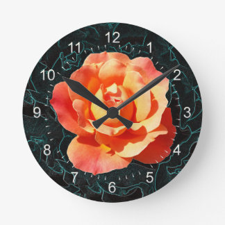 Bright orange rose round clock