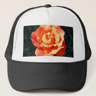 Bright orange rose trucker hat