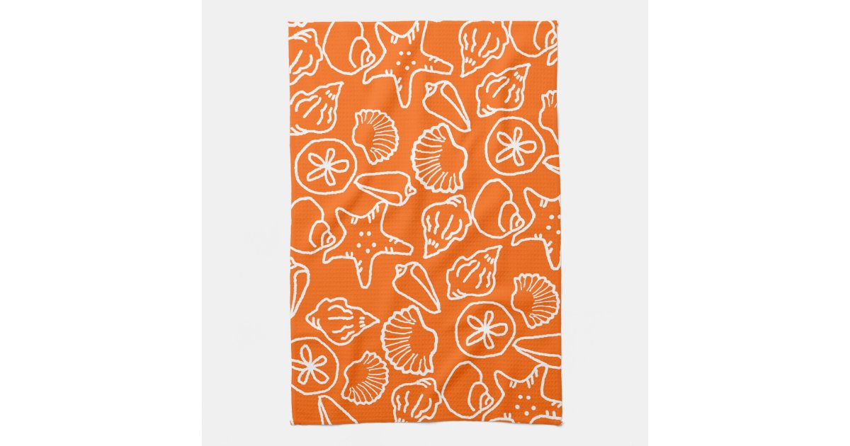 Bright Orange Seashell Art Pattern Kitchen Towel Zazzle