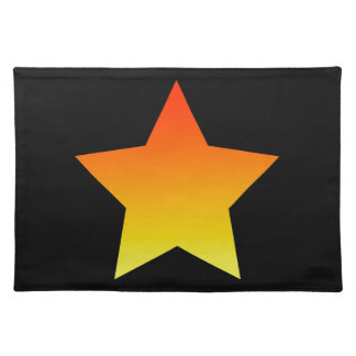 Bright orange star on black. placemat