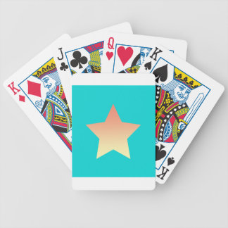 Bright orange star on blue. bicycle playing cards