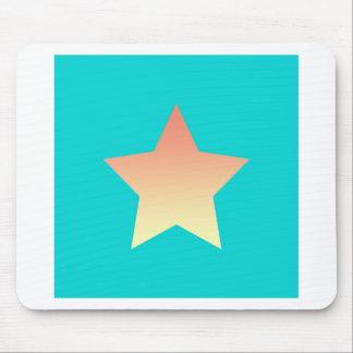 Bright orange star on blue. mouse pad