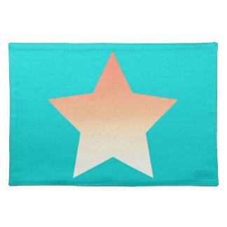 Bright orange star on blue. placemat
