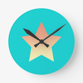 Bright orange star on blue. round clock