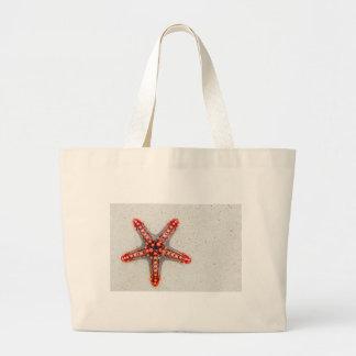 Bright Orange Starfish on White Sand Jumbo Tote Bag