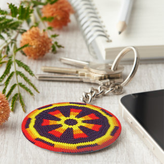 Bright Orange Sunny Yellow Wheel Crochet Print on Keychain
