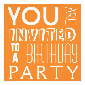 "Bright Orange Teen Birthday Party Typography 5.25"" Square Invitation Card"