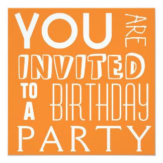 Bright Orange Teen Birthday Party Typography 5.25x5.25 Square Paper Invitation Card