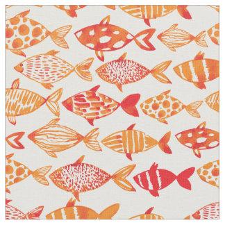 Bright Orange Watercolor Fish Pattern 2 Fabric