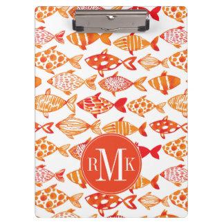 Bright Orange Watercolor Fish Pattern Clipboard