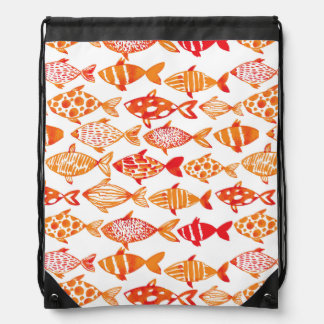 Bright Orange Watercolor Fish Pattern Drawstring Bag