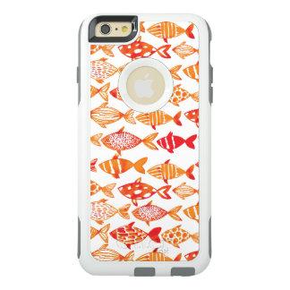 Bright Orange Watercolor Fish Pattern OtterBox iPhone 6/6s Plus Case