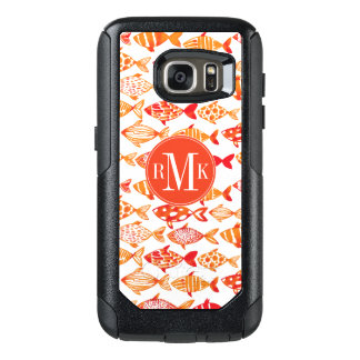 Bright Orange Watercolor Fish Pattern OtterBox Samsung Galaxy S7 Case