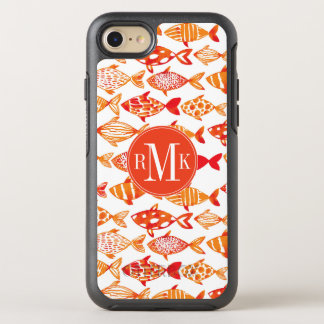Bright Orange Watercolor Fish Pattern OtterBox Symmetry iPhone 8/7 Case