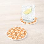 Bright Orange White Retro Chic Ikat Drops Pattern Coaster