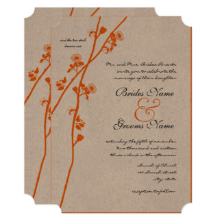 Bright Orange Wild Flower Branch Wedding Card