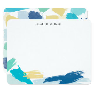 Bright Paint Brush Strokes Thank You Notes Card