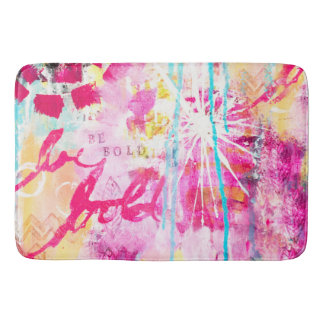 Bright Paint Splatter Abstract Art Colorful Unique Bath Mat