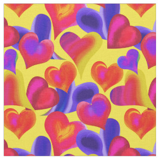 Bright Painted Hearts on Yellow | Valentine's Day Fabric