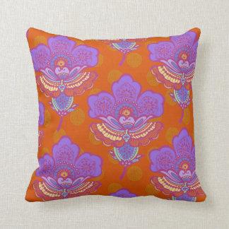 Bright Paisley Florets on Orange Throw Pillow