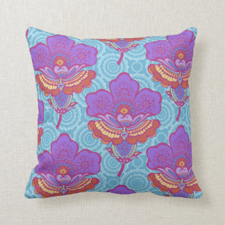 Bright Paisley Florets Throw Pillow