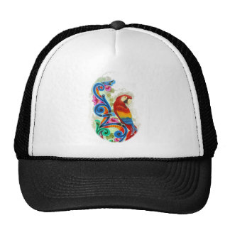 bright parrot trucker hat