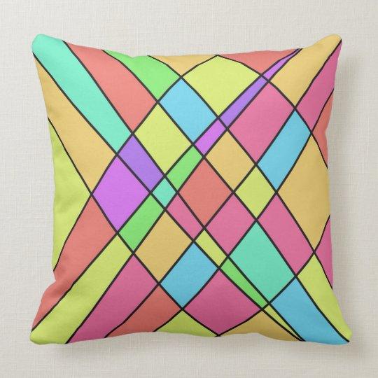 Bright Pastel Crosshatch Design Throw Pillow