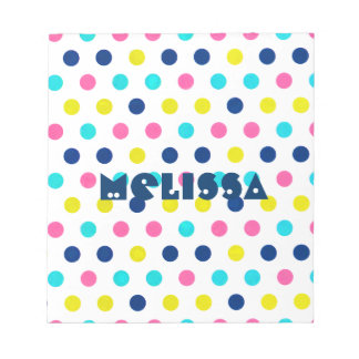 Bright Pastel Polka Dots with personalized name Notepad