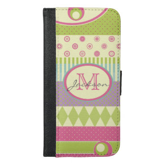 Bright Patchwork Pattern w/ Name and Monogram iPhone 6/6s Plus Wallet Case