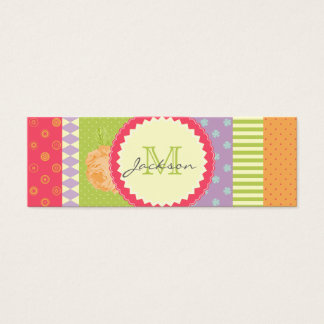 Bright Patchwork-Style Multipatterned Mini Business Card