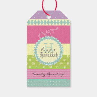 Bright Patchwork-Style Personalized Hanukkah Wish Pack Of Gift Tags