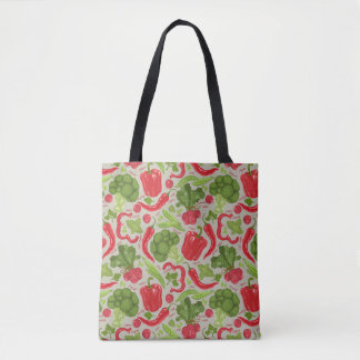 Bright pattern from fresh vegetables tote bag