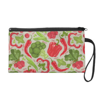 Bright pattern from fresh vegetables wristlet purse