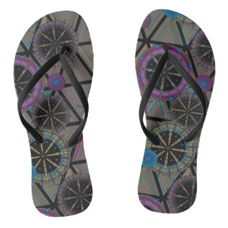 Bright pattern of circles and triangles flip flops