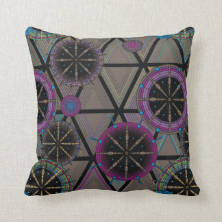 Bright pattern of circles and triangles throw pillow