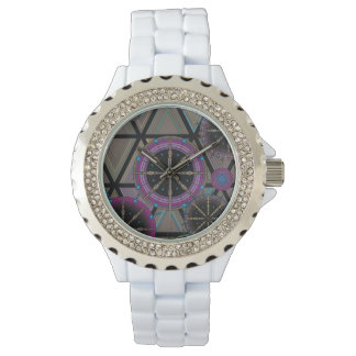 Bright pattern of circles and triangles watch