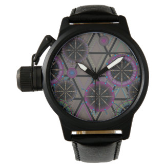 Bright pattern of circles and triangles wristwatch