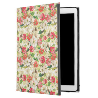 Bright pattern with beige and red flowers