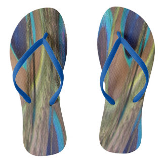 Bright Peacock Feathers Adult Flip Flops